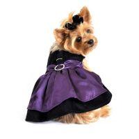 Black Velvet & Purple Satin Holiday Dog Harness Dress