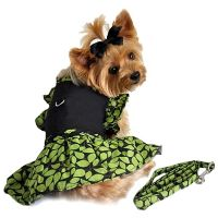 Green Leaf Garden Party Dog Harness Dress with Leash