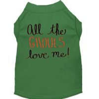 All the Ghouls Love Me tank shirt for pets - shown in green