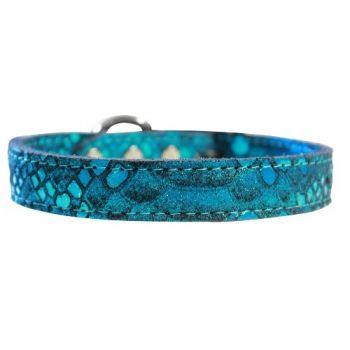 Dragon Skin Leather Dog Collar - in Blue
