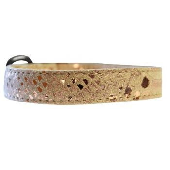 Dragon Skin Leather Dog Collar - in Golden