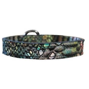 Dragon Skin Leather Dog Collar - in Magic (iridescent)