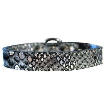 Dragon Skin Leather Dog Collar - in Silver