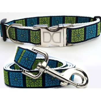Savannah Squares Collar & Leash in Turquoise & Kiwi on Navy Blue