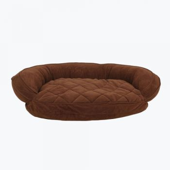 The Microfiber Quilted Bolster Pet Bed - in Chocolate