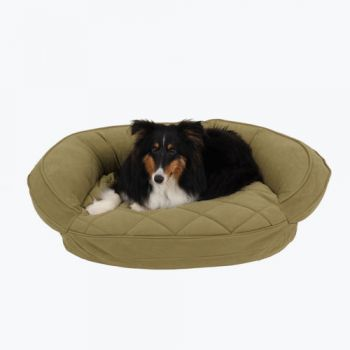 The Microfiber Quilted Bolster Pet Bed- in Sage